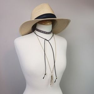 Embroidered Black Choker & Crystal Necklace NWT